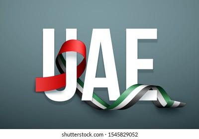 48 National day banner with realistic UAE ribbon flag. holiday illustration card 48 UAE National day Spirit of the union United Arab Emirates, Flat design Logo Anniversary Celebration Abu Dhabi Card