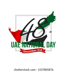 48 National day banner with UAE flag isolated on white. 48 UAE National day Spirit of the union United Arab Emirates, Flat design Logo Anniversary Celebration Abu Dhabi Card with country contour map