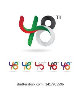 48 number with ribbon concept, creative and modern for anniversary and more