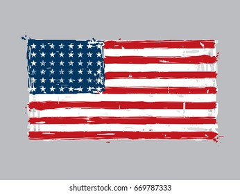 48 Star American Flat Flag- Vector Artistic Brush Strokes and Splashes. This is the flag of the USA during WWI, WWII and the Korean War. Grunge Illustration, all elements neatly on layers and groups.