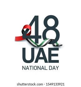 48 UAE National day banner with UAE flag isolated on white background. Spirit of the union United Arab Emirates, Flat design Logo Anniversary Celebration Abu Dhabi. 2 december 48 National day Card