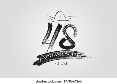 48 year anniversary chalk, ink Marker Pen Style, years, jubilee, greeting card. Birthday invitation sign. Black space vector illustration on white background - Vector