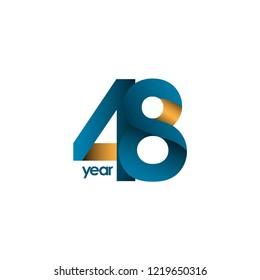 48 Year Anniversary Vector Template Design Illustration