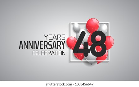 48 years anniversary celebration for company with balloons in square isolated on white background