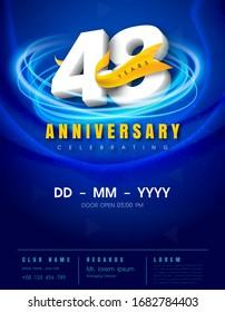 48 years anniversary invitation card - celebration template design , 48th anniversary modern design elements, dark blue background - vector illustration