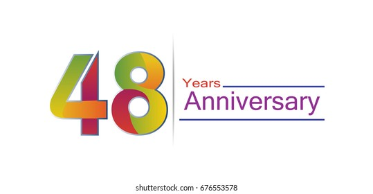 48 years Anniversary logo with colorful design, template elements for invitation card and poster your birthday celebration isolated in white background.