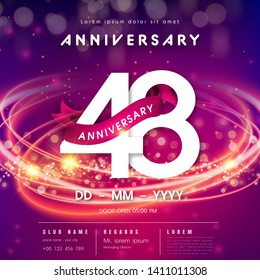 48 years anniversary logo template on purple Abstract futuristic space background. 48th modern technology design celebrating numbers with Hi-tech network digital technology concept design elements.