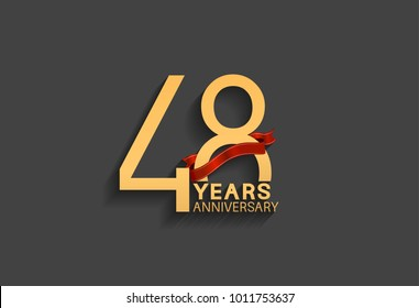 48 years anniversary logotype with red ribbon and golden color for celebration event
