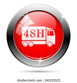 48H delivery truck icon. Internet button on white background.