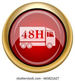 48H delivery truck icon. Internet button on white background. EPS10 vector.