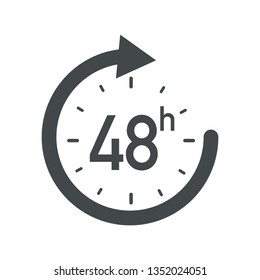 48h icon. Flat vector illustration in black on white background.