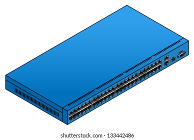 A 48-port ethernet network switch. With two uplink ports, a USB port and a serial console port.