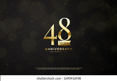 48th anniversary background with an illustration of golden numbers on a black background and a blur circle.