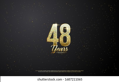 48th anniversary background with illustrations of light effects behind gold colored figures on a black background.