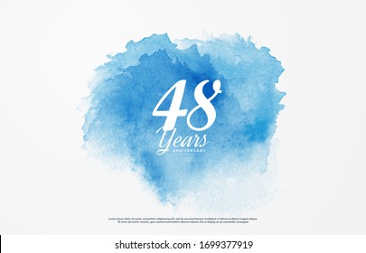 48th anniversary background with illustrations of white numbers and the writing below on a water color background.