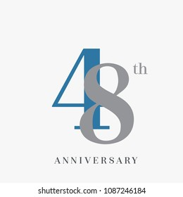 48th anniversary celebration overlapping number blue and grey simple logo, isolated on grey background