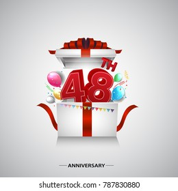 48th anniversary design with red number inside gift box isolated on white background for celebration event