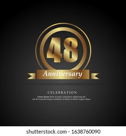 48th anniversary golden logo text decorative. With dark background. Ready to use. Vector Illustration EPS 10