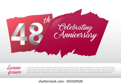 48th anniversary logo with red abstract backgrond. design template