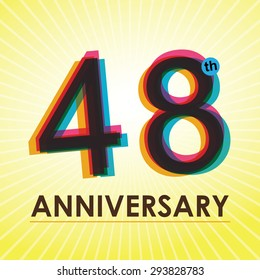48th Anniversary poster / template design in retro style - Vector Background