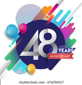 48th years Anniversary logo with colorful abstract background, vector design template elements for invitation card and poster your birthday celebration.