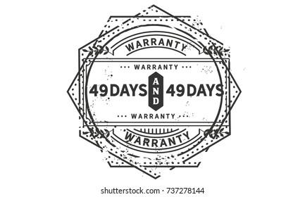 49 days warranty icon vintage rubber stamp guarantee