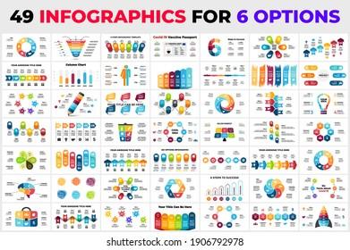 49 infographies différentes pour 6 étapes, options. Modèles de diapositives de présentation. Prêt pour les affaires, le marketing, l'écologie, la médecine ou l'éducation.