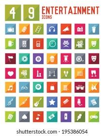 49 Entertainment Icon set on white background,vector