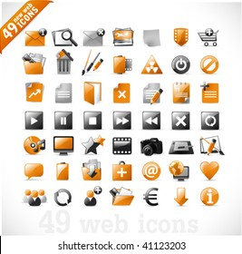 49 glossy web icons and design elements in orange and gray - set 2