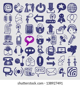 49 hand draw sketch communication element collection, icons set