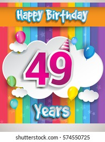 49 Years Birthday Celebration, with balloons and clouds, Colorful Vector design for invitation card and birthday party