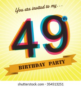 40th Birthday Party Invite Template Design Stock Vektorgrafik