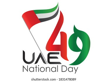 49th United Arab Emirates national day, UAE National Day written in English calligraphy style vector best to use for National day of UAE and Flag day.