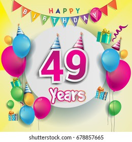 49th Years Anniversary Celebration Birthday Card Or Greeting Design With Gift Box And Balloons