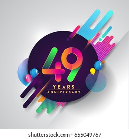 49th years Anniversary logo with colorful abstract background, vector design template elements for invitation card and poster your forty-nine celebration.