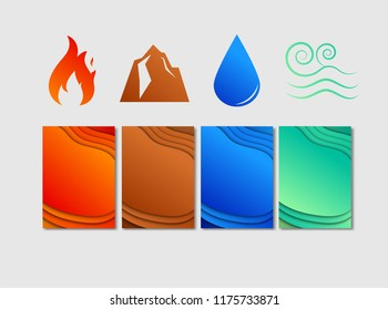 4color of elemnt background, layered abstract cover design