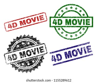 4D MOVIE seal prints with damaged surface. Black, green,red,blue vector rubber prints of 4D MOVIE text with scratched surface. Rubber seals with round, rectangle, rosette shapes.