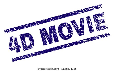 4D MOVIE stamp seal watermark with scratced style. Blue vector rubber print of 4D MOVIE text with dirty texture. Text caption is placed between parallel lines.