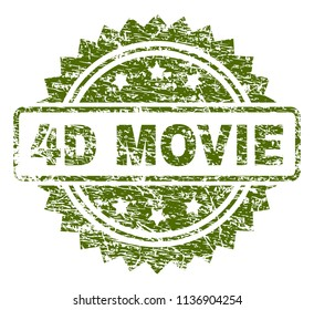 4D MOVIE stamp seal watermark with rubber print style. Green vector rubber print of 4D MOVIE title with grunge texture.