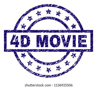 4D MOVIE stamp seal watermark with grunge texture. Designed with rectangle, circles and stars. Blue vector rubber print of 4D MOVIE title with grunge texture.