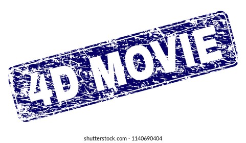 4D MOVIE stamp seal watermark with grunge texture. Seal shape is a rounded rectangle with frame. Blue vector rubber print of 4D MOVIE text with grunge texture.