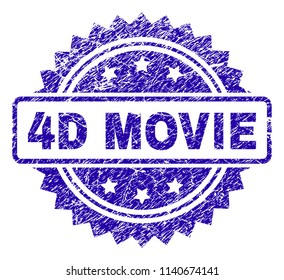 4D MOVIE stamp watermark with corroded style. Blue vector rubber seal print of 4D MOVIE tag with corroded texture.