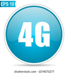 4g blue glossy round vector icon in eps 10. Editable modern design internet button on white background.