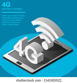 4G broadband cellular network technology vector illustration. Isometric concept includes tablet and 4G symbol.