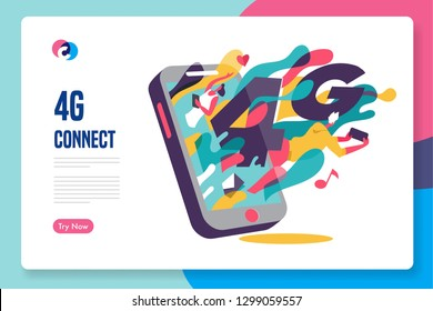 4G fast connection template design. vector illustration