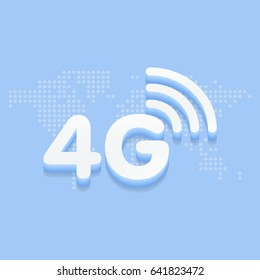 4G fast internet 3d sign in blue background and dotted world map vector illustration.