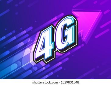 4G high speed internet technology. Vector illustration