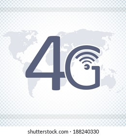 4G network poster on world map background blue style art
