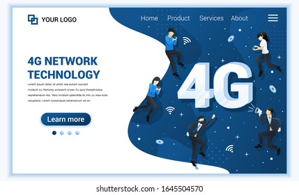 4G network technology concept. Internet systems telecommunication service. People using high speed wireless connection 4G. Flat vector illustration