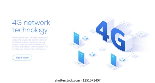 4g network technology in isometric vector illustration. Wireless mobile telecommunication service concept. Marketing website landing template. Smartphone internet speed connection background.